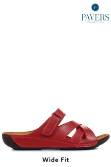 Pavers Red Ladies Touch-Fasten Mules