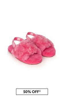 UGG Girls Pink Fluff Yeah Poppy Sandals