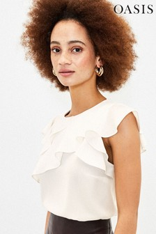 Oasis White Frill Shell Top