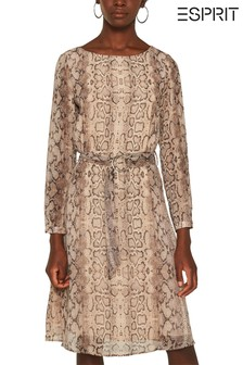 Esprit Brown Snake Print Belted Midi Dress