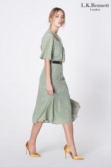 L.K.Bennett Green Piaf Block Print Silk Dress