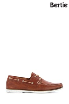 Bertie Battleship Tan Classic Leather Boat Shoes