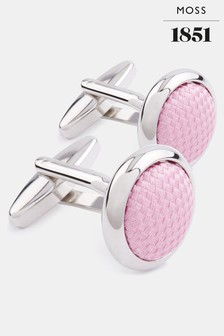 Moss 1851 Silver Circle with Pink Silk Cufflinks