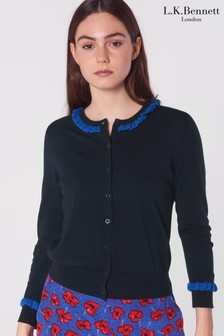 L.K.Bennett Blue Hazel Wool Blend Cardigan