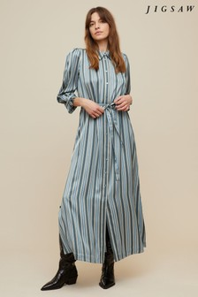 Jigsaw Blue Multi Stripe Shirt Dress