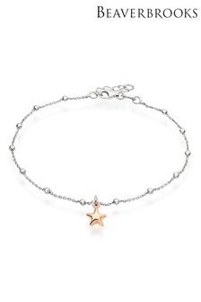 Beaverbrooks Sterling Silver Gold Plated Starfish Anklet