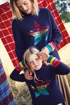 Matching Mother & Me Girls Rainbow Flippy Sequin Star Jumper (3-16yrs)
