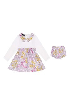 Baby Girls Pink Printed Dress With Knickers