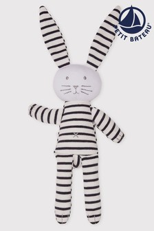 Petit Bateau Navy Stripe Iconic Rib Rabbit Comforter