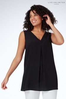 Live Unlimited Black Camisole With Neckline Detail