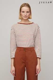 Jigsaw Brown Stripe Slouchy Breton T-Shirt
