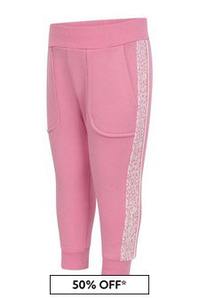 Monnalisa Baby Girls Pink Cotton Leopard Trim Joggers