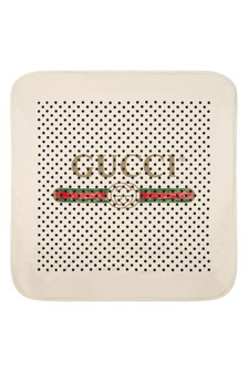 GUCCI Kids Baby White Cotton Polka Dots Vintage Logo Blanket