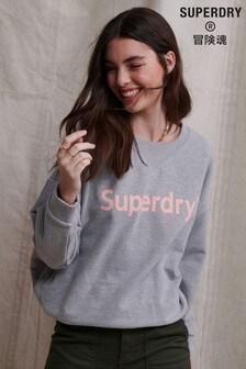 Superdry Regular Flock Loopback Crew Sweatshirt