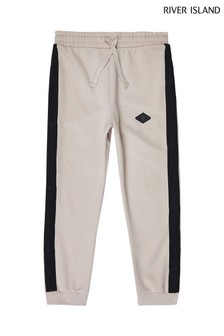 River Island Black Pique Taped Joggers