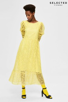 Selected Femme Yellow Embroidered Floral Maya Midi Dress