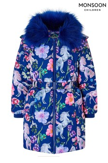 Monsoon Armelle Unicorn Printed Padded Coat