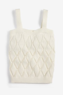 Knitted Pointelle Detail Vest