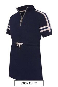 Girls Navy Short Sleeve Fleece Dress