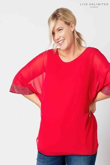 Live Unlimited Red Dolman Sleeve Blouse