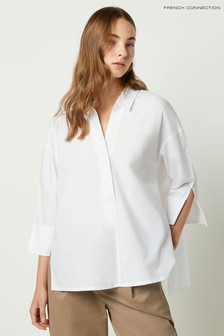 French Connection White Aoko Rhodes Poplin Popover Shirt