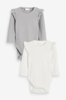 2 Pack Frill Sleeve Bodysuits (0mths-2yrs)