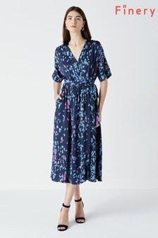 Finery Blue Sabine Wrap Dress