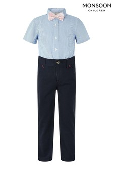Monsoon Blue Martin Trousers, Shirt And Bow Tie