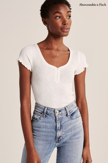 Abercrombie & Fitch White Henley T-Shirt