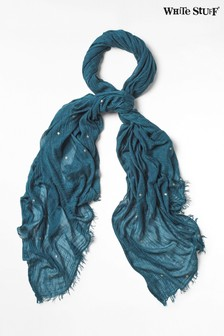 White Stuff Blue Foil Star Dreaming Away Scarf