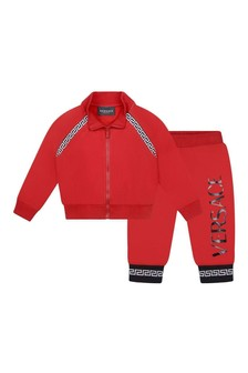 Baby Boys Red Cotton Logo Tracksuit