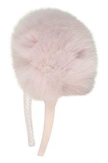 Girls Pink Headband With Faux Fur Pom Pom