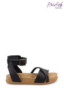 Blowfish Black Falten Platform Moulded Footbed Sandals