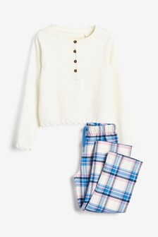Woven Check Bottoms With Jersey Rib Top Pyjama Set (3-16yrs)