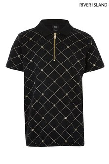 River Island Black Honeycomb Gold Embroidered Polo