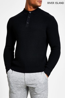 River Island Black Long Sleeve Fisherman Knitted Poloshirt