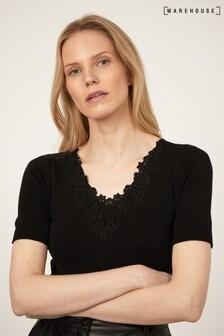 Warehouse Lace Neckline T-Shirt