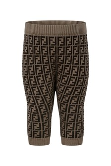 Fendi Kids Baby Brown Cotton & Cashmere Logo Bottoms