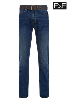 F&F Mid Wash Straight Mac Mid Belted Jeans