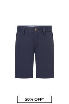Boys Navy Cotton Swim Shorts