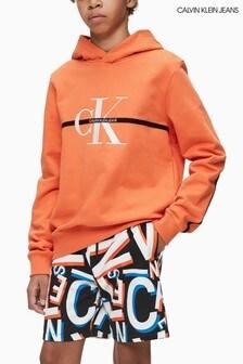 Calvin Klein Jeans Orange Monogram Stripe Hoody