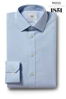 Moss 1851 Tailored Fit Sky Blue Single Cuff Poplin Zero Iron Shirt