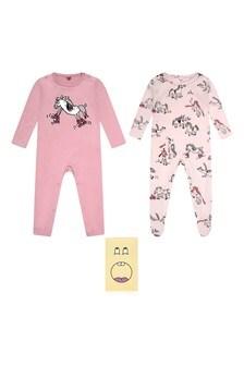 Girls Pink Horses Doodle Babygrow Set