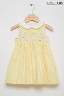 Trotters London Yellow Leonore Smocked Dress