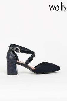 Wallis Blue Cross Strap Block Heeled Shoes