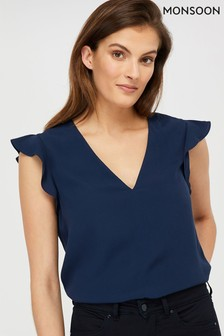 Monsoon Ladies Navy Nessa Blouse