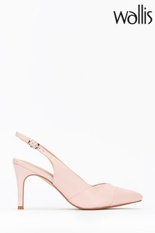 Wallis Pink Slingback Low Block Heel Court Shoes