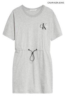 Calvin Klein Grey Monogram Drawstring Dress