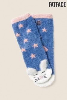 Modré huňaté ponožky so zajačikom FatFace