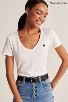 Abercrombie & Fitch White V-Neck T-Shirt